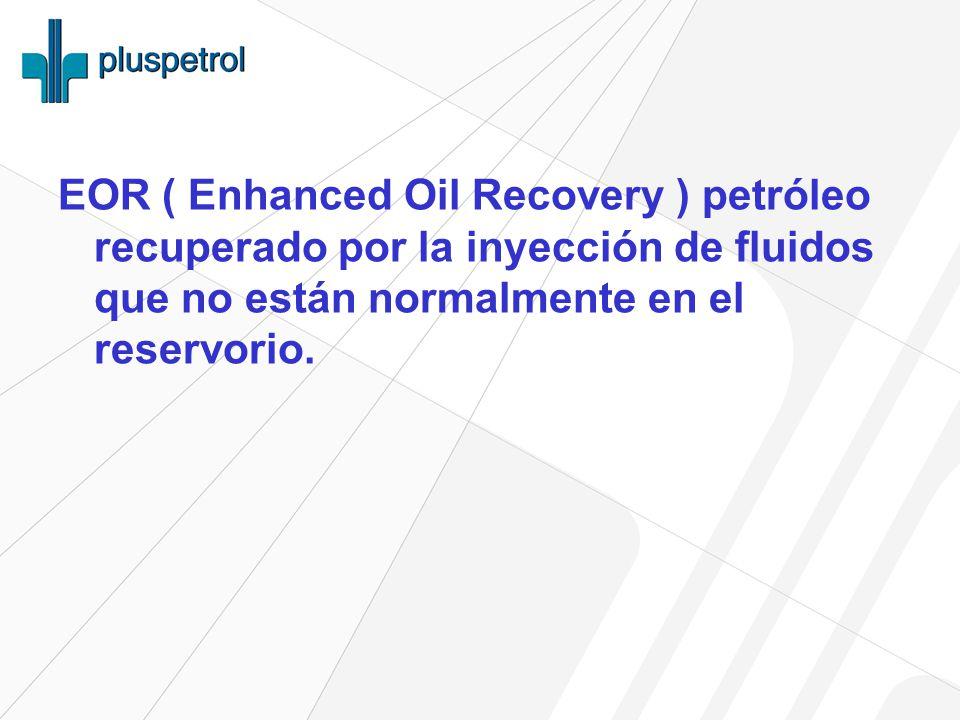 EOR ( Enhanced Oil Recovery ) petróleo recuperado por la inyección de fluidos que no están normalmente en el reservorio.