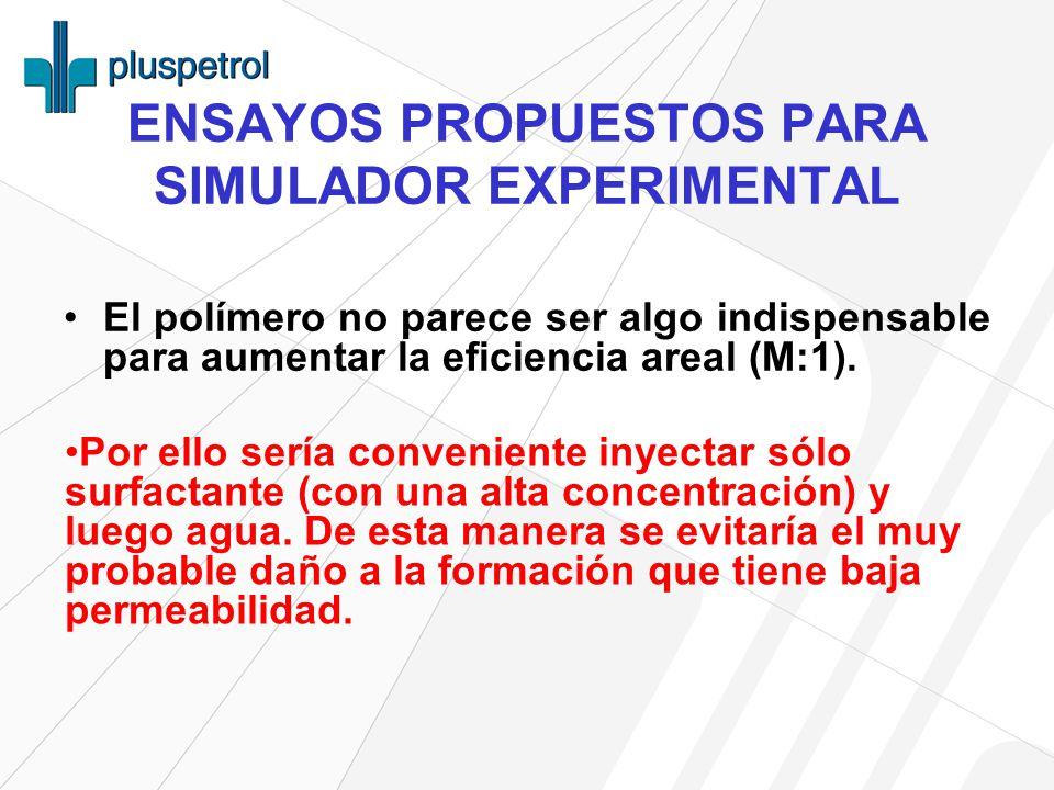 ENSAYOS PROPUESTOS PARA SIMULADOR EXPERIMENTAL El polímero no parece ser algo indispensable para aumentar la eficiencia areal (M:1).