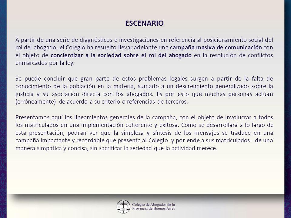ESCENARIO A partir de una serie de diagnósticos e investigaciones en referencia al posicionamiento social del rol del abogado, el Colegio ha resuelto