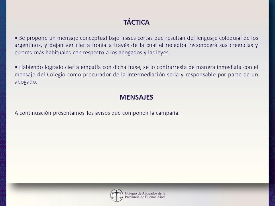 TÁCTICA Se propone un mensaje conceptual bajo frases cortas que resultan del lenguaje coloquial de los argentinos, y dejan ver cierta ironía a través
