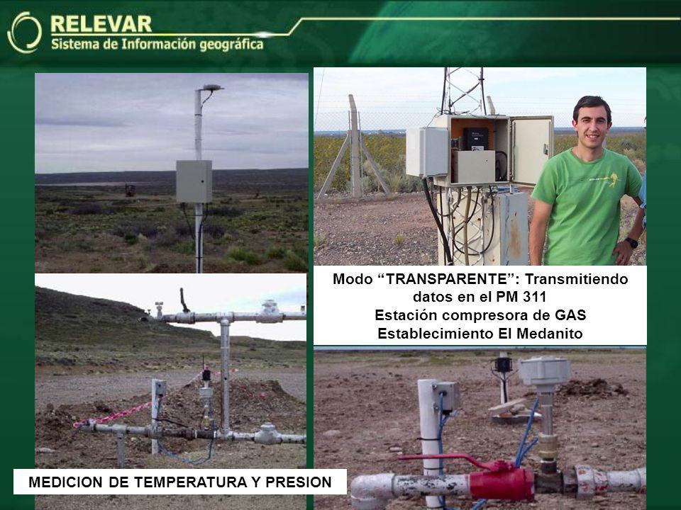Modo TRANSPARENTE: Transmitiendo datos en el PM 311 Estación compresora de GAS Establecimiento El Medanito MEDICION DE TEMPERATURA Y PRESION