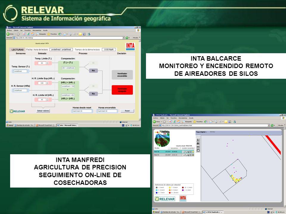 INTA BALCARCE MONITOREO Y ENCENDIDO REMOTO DE AIREADORES DE SILOS INTA MANFREDI AGRICULTURA DE PRECISION SEGUIMIENTO ON-LINE DE COSECHADORAS