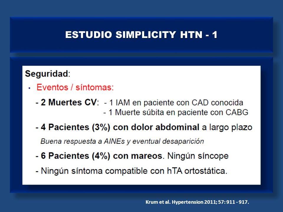 Krum et al. Hypertension 2011; 57: 911 - 917. ESTUDIO SIMPLICITY HTN - 1