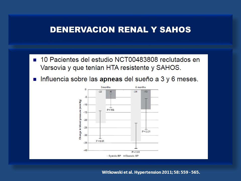 DENERVACION RENAL Y SAHOS Witkowski et al. Hypertension 2011; 58: 559 - 565.