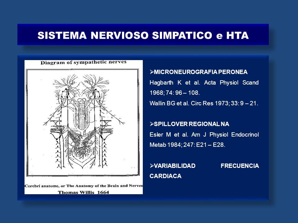 SISTEMA NERVIOSO SIMPATICO e HTA MICRONEUROGRAFIA PERONEA Hagbarth K et al. Acta Physiol Scand 1968; 74: 96 – 108. Wallin BG et al. Circ Res 1973; 33:
