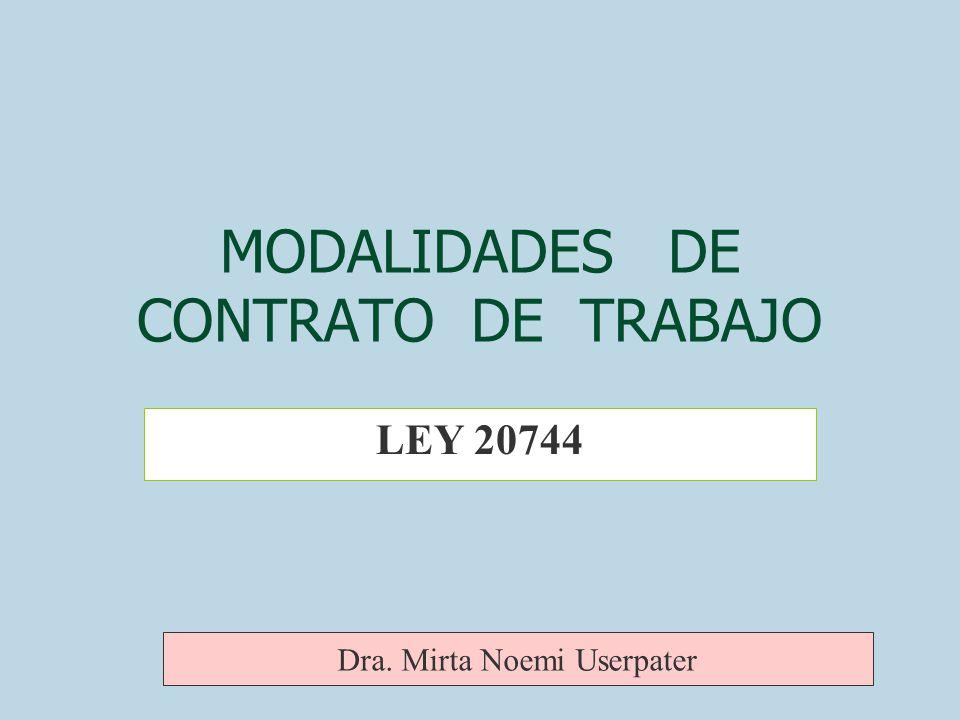 MODALIDADES DE CONTRATO DE TRABAJO LEY 20744 Dra. Mirta Noemi Userpater