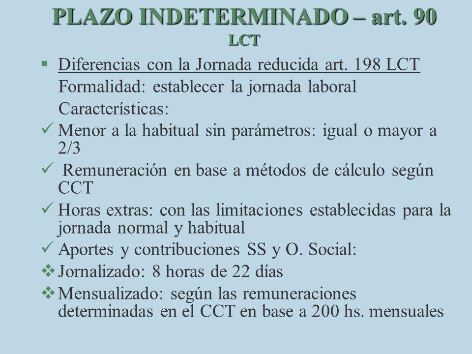 PLAZO INDETERMINADO – art. 90 LCT §D§Diferencias con la Jornada reducida art. 198 LCT Formalidad: establecer la jornada laboral Características: M eno