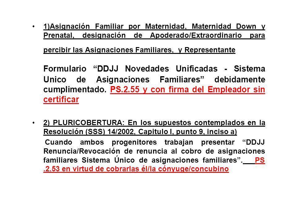 1)Asignación Familiar por Maternidad, Maternidad Down y Prenatal, designación de Apoderado/Extraordinario para percibir las Asignaciones Familiares, y