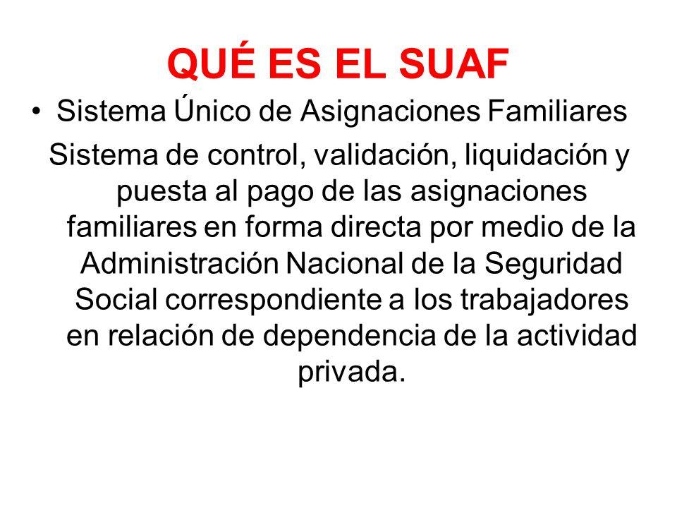 QUÉ ES EL SUAF Sistema Único de Asignaciones Familiares Sistema de control, validación, liquidación y puesta al pago de las asignaciones familiares en