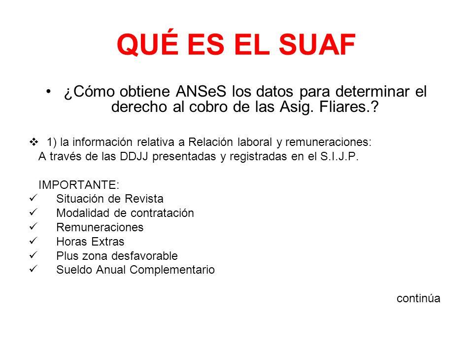 QUÉ ES EL SUAF ¿Cómo obtiene ANSeS los datos para determinar el derecho al cobro de las Asig. Fliares.? 1) la información relativa a Relación laboral