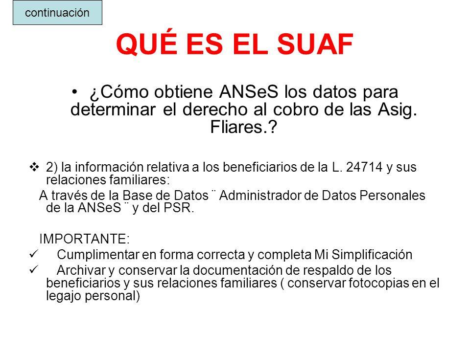 QUÉ ES EL SUAF ¿Cómo obtiene ANSeS los datos para determinar el derecho al cobro de las Asig. Fliares.? 2) la información relativa a los beneficiarios