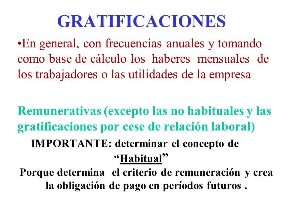 GRATIFICACIONES En general, con frecuencias anuales y tomando como base de cálculo los haberes mensuales de los trabajadores o las utilidades de la em