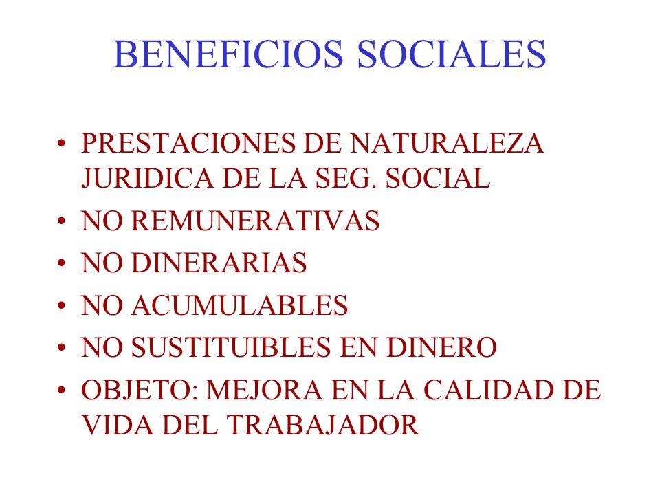 BENEFICIOS SOCIALES PRESTACIONES DE NATURALEZA JURIDICA DE LA SEG. SOCIAL NO REMUNERATIVAS NO DINERARIAS NO ACUMULABLES NO SUSTITUIBLES EN DINERO OBJE