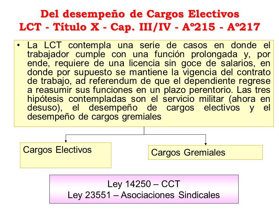 Del desempeño de Cargos Electivos LCT - Título X - Cap. III/IV - Aº215 - Aº217 La LCT contempla una serie de casos en donde el trabajador cumple con u