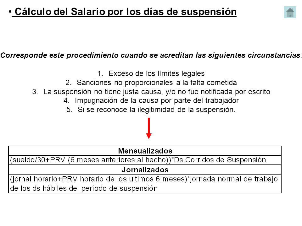 Cálculo del Salario por los días de suspensión Corresponde este procedimiento cuando se acreditan las siguientes circunstancias: 1.Exceso de los límit
