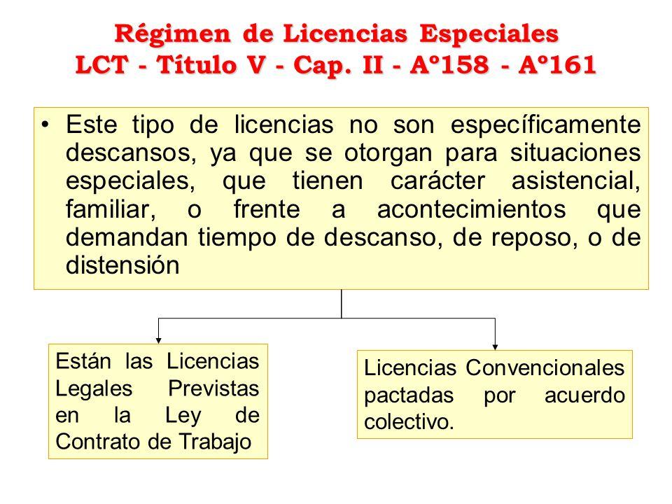 Régimen de Licencias Especiales LCT - Título V - Cap. II - Aº158 - Aº161 Este tipo de licencias no son específicamente descansos, ya que se otorgan pa