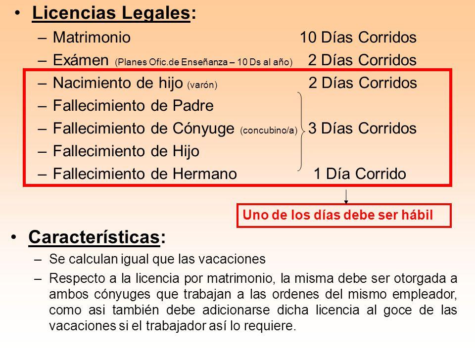 Licencias Legales: –Matrimonio10 Días Corridos –Exámen (Planes Ofic.de Enseñanza – 10 Ds al año) 2 Días Corridos –Nacimiento de hijo (varón) 2 Días Co