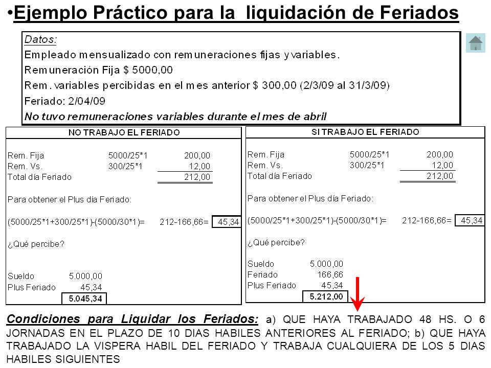 Ejemplo Práctico para la liquidación de Feriados Condiciones para Liquidar los Feriados: a) QUE HAYA TRABAJADO 48 HS. O 6 JORNADAS EN EL PLAZO DE 10 D