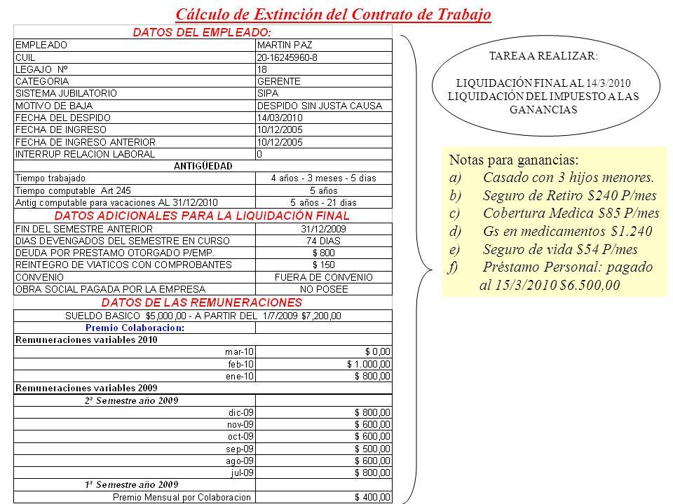 Cálculo de Extinción del Contrato de Trabajo TAREA A REALIZAR: LIQUIDACIÓN FINAL AL 14/3/2010 LIQUIDACIÓN DEL IMPUESTO A LAS GANANCIAS Notas para gana