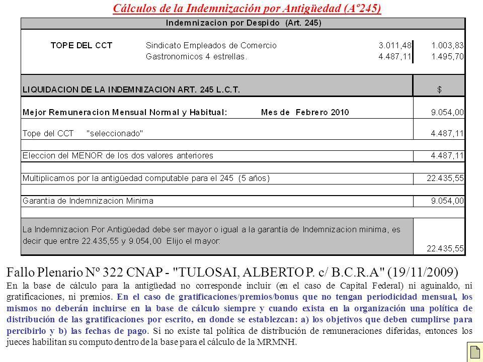 Cálculos de la Indemnización por Antigüedad (Aº245) Fallo Plenario Nº 322 CNAP -
