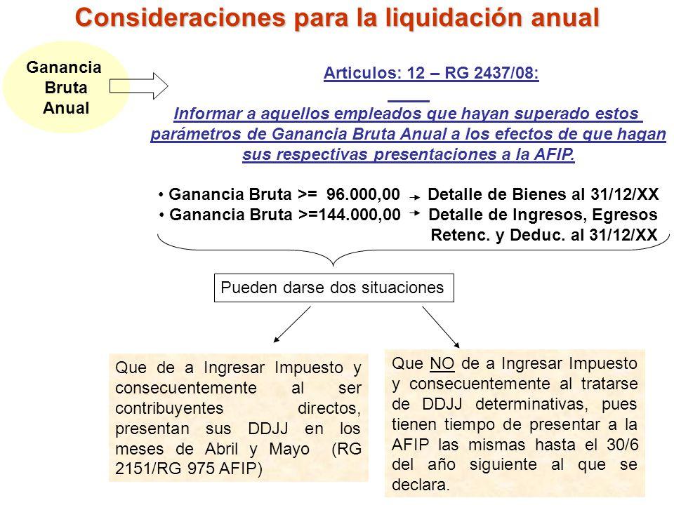 Consideraciones para la liquidación anual Ganancia Bruta Anual Articulos: 12 – RG 2437/08: Informar a aquellos empleados que hayan superado estos pará