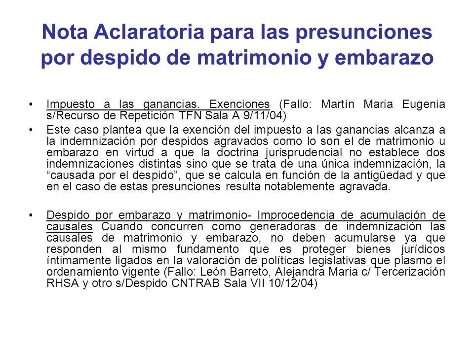 Nota Aclaratoria para las presunciones por despido de matrimonio y embarazo Impuesto a las ganancias. Exenciones (Fallo: Martín Maria Eugenia s/Recurs