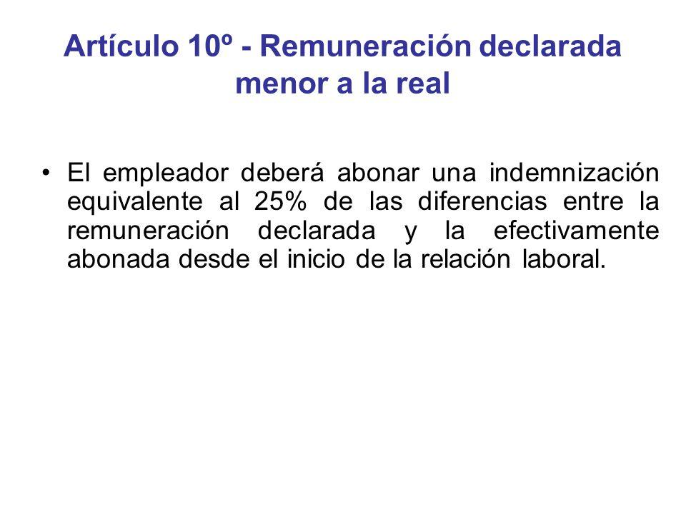 Artículo 10º - Remuneración declarada menor a la real El empleador deberá abonar una indemnización equivalente al 25% de las diferencias entre la remu