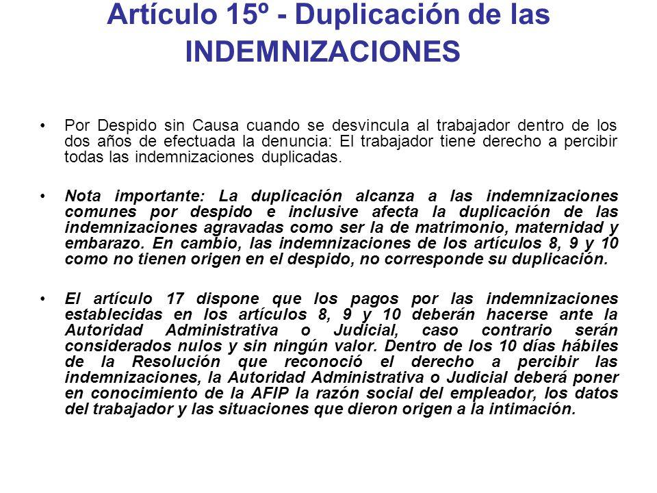 Artículo 15º - Duplicación de las INDEMNIZACIONES Por Despido sin Causa cuando se desvincula al trabajador dentro de los dos años de efectuada la denu