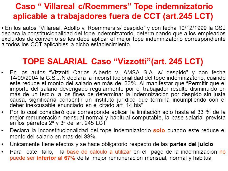 TOPE SALARIAL Caso Vizzotti(art. 245 LCT) En los autos Vizzotti Carlos Alberto v. AMSA S.A. s/ despido y con fecha 14/09/2004 la C.S.J.N declara la in