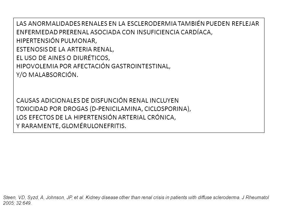 LAS ANORMALIDADES RENALES EN LA ESCLERODERMIA TAMBIÉN PUEDEN REFLEJAR ENFERMEDAD PRERENAL ASOCIADA CON INSUFICIENCIA CARDÍACA, HIPERTENSIÓN PULMONAR,