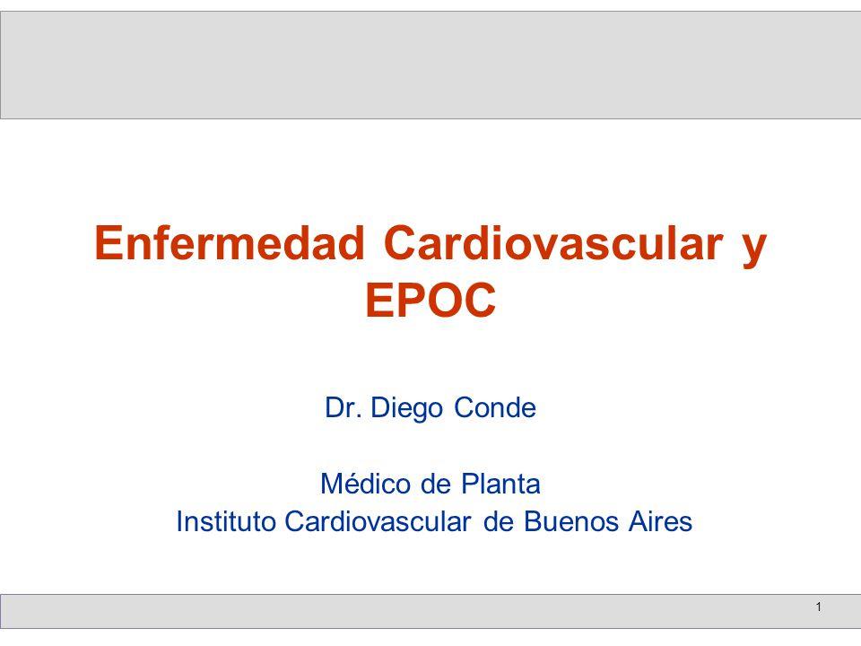 2 La Presencia de EPOC es un predictor de eventos cardiovascularesLa Presencia de EPOC es un predictor de eventos cardiovasculares El riesgo de éstos es doble en 3 años (esto es de mayor relevancia en los menores de 65 años de edad)El riesgo de éstos es doble en 3 años (esto es de mayor relevancia en los menores de 65 años de edad) Además, los pacientes portadores de EPOC, presentan reingresos hospitalarios más altos y una mayor mortalidadAdemás, los pacientes portadores de EPOC, presentan reingresos hospitalarios más altos y una mayor mortalidad Poseen también una elevada mortalidad por causas cardiovasculares (19 por mil personas por año), superando a las causas respiratorias (15 por mil personas por año)Poseen también una elevada mortalidad por causas cardiovasculares (19 por mil personas por año), superando a las causas respiratorias (15 por mil personas por año) Enfermedades Cardiovasculares y EPOC