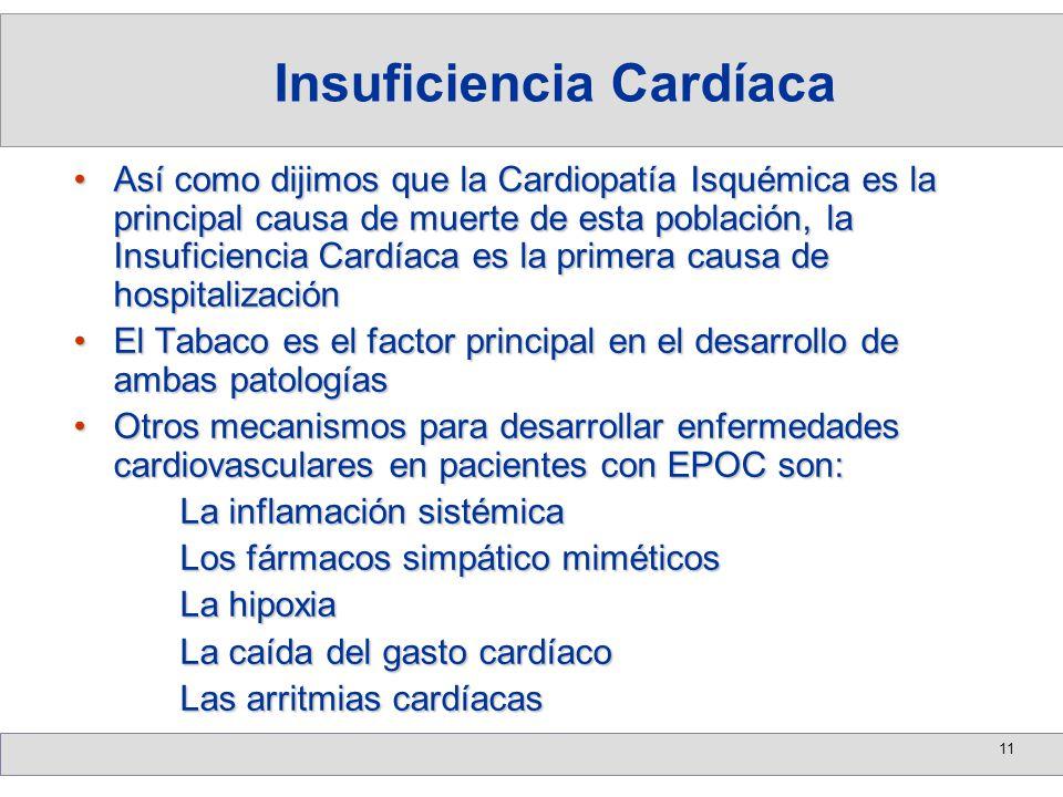 11 Así como dijimos que la Cardiopatía Isquémica es la principal causa de muerte de esta población, la Insuficiencia Cardíaca es la primera causa de h