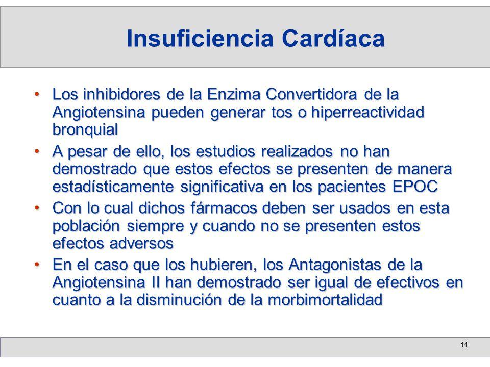 14 Los inhibidores de la Enzima Convertidora de la Angiotensina pueden generar tos o hiperreactividad bronquialLos inhibidores de la Enzima Convertido
