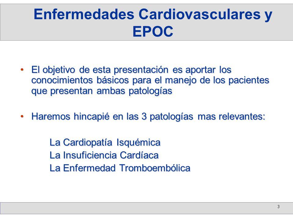 4 Los pacientes que se someten a Cirugía de Revascularización Miocárdica o a procedimientos percutáneos tienen peor pronóstico a corto y largo plazo en cuanto a supervivencia y número de eventos isquémicosLos pacientes que se someten a Cirugía de Revascularización Miocárdica o a procedimientos percutáneos tienen peor pronóstico a corto y largo plazo en cuanto a supervivencia y número de eventos isquémicos Esto es de gran trascendencia ya que la Cardiopatía Isquémica como la EPOC aumentan su incidencia con la edadEsto es de gran trascendencia ya que la Cardiopatía Isquémica como la EPOC aumentan su incidencia con la edad Dado el aumento en la expectativa de vida de la población nivel global se hace estrictamente necesario el conocimiento de ambas patologías y su asociaciónDado el aumento en la expectativa de vida de la población nivel global se hace estrictamente necesario el conocimiento de ambas patologías y su asociación Cardiopatía Isquémica