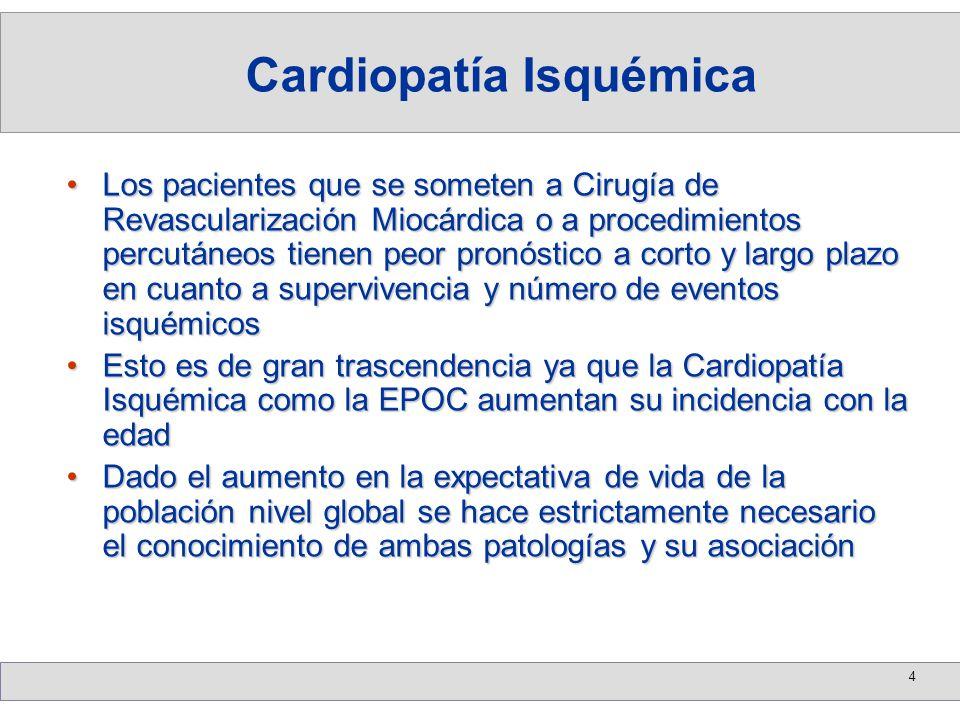 4 Los pacientes que se someten a Cirugía de Revascularización Miocárdica o a procedimientos percutáneos tienen peor pronóstico a corto y largo plazo e