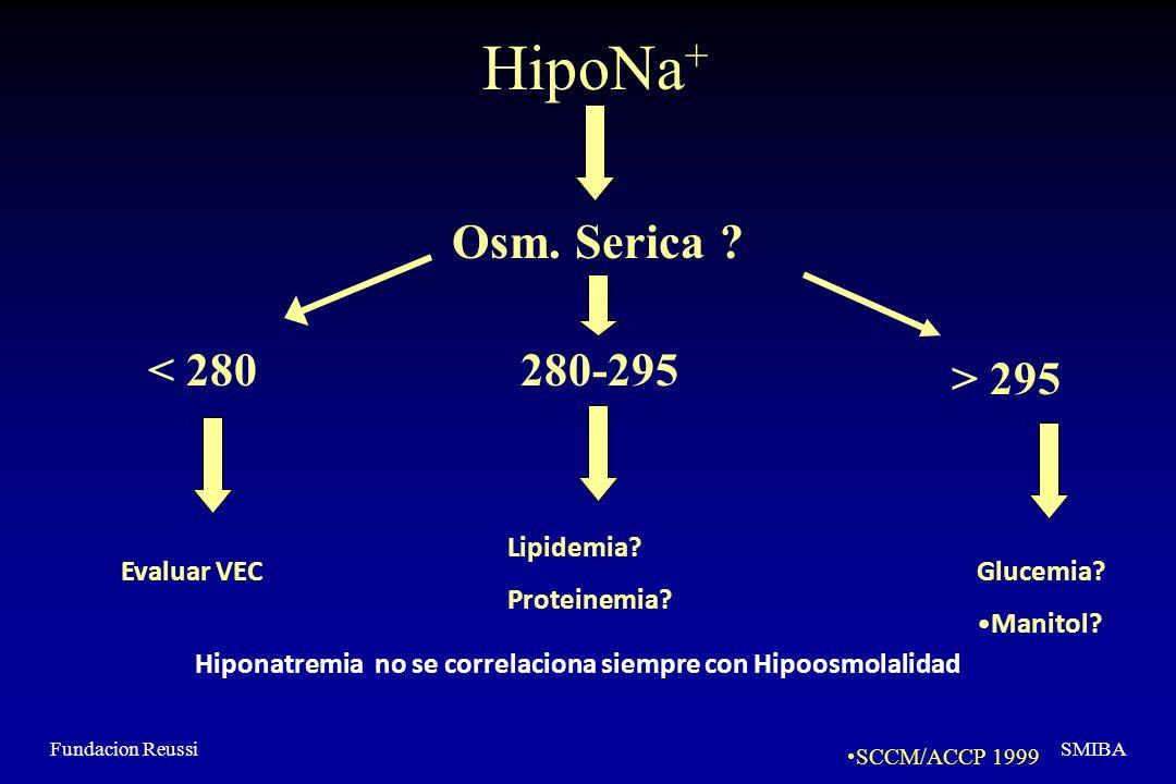 Fundacion ReussiSMIBA HipoNa + Osm.Serica . < 280280-295 > 295 Evaluar VEC Lipidemia.