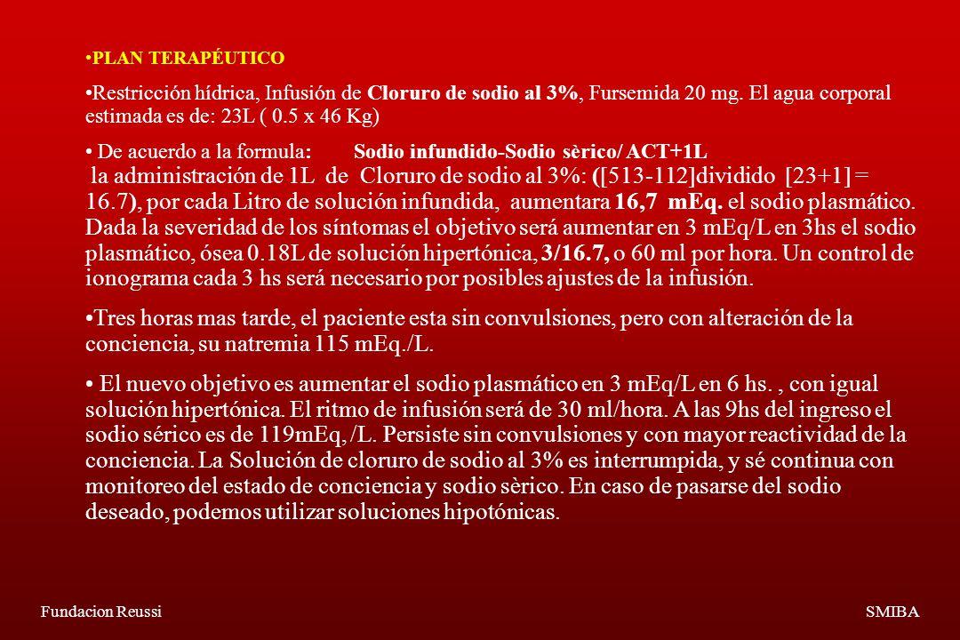 Fundacion ReussiSMIBA PLAN TERAPÉUTICO Restricción hídrica, Infusión de Cloruro de sodio al 3%, Fursemida 20 mg.