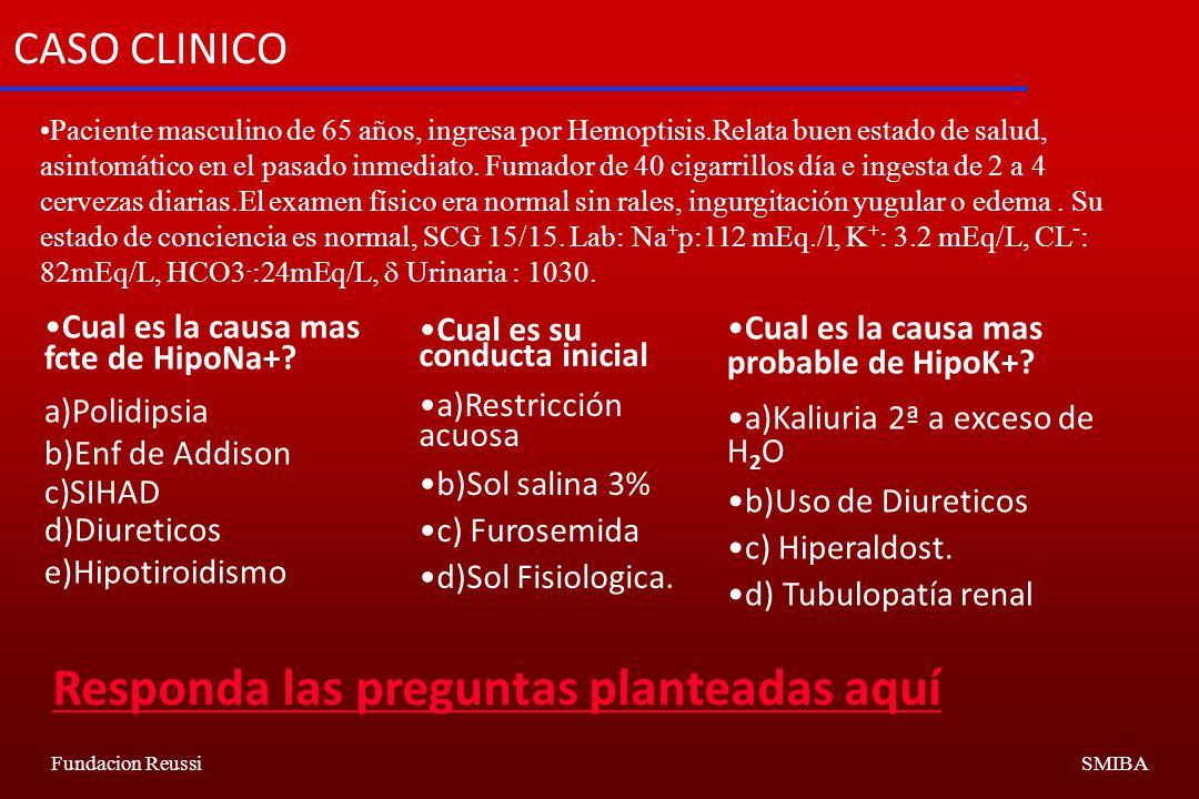 Fundacion ReussiSMIBA CASO CLINICO Paciente masculino de 65 años, ingresa por Hemoptisis.Relata buen estado de salud, asintomático en el pasado inmediato.