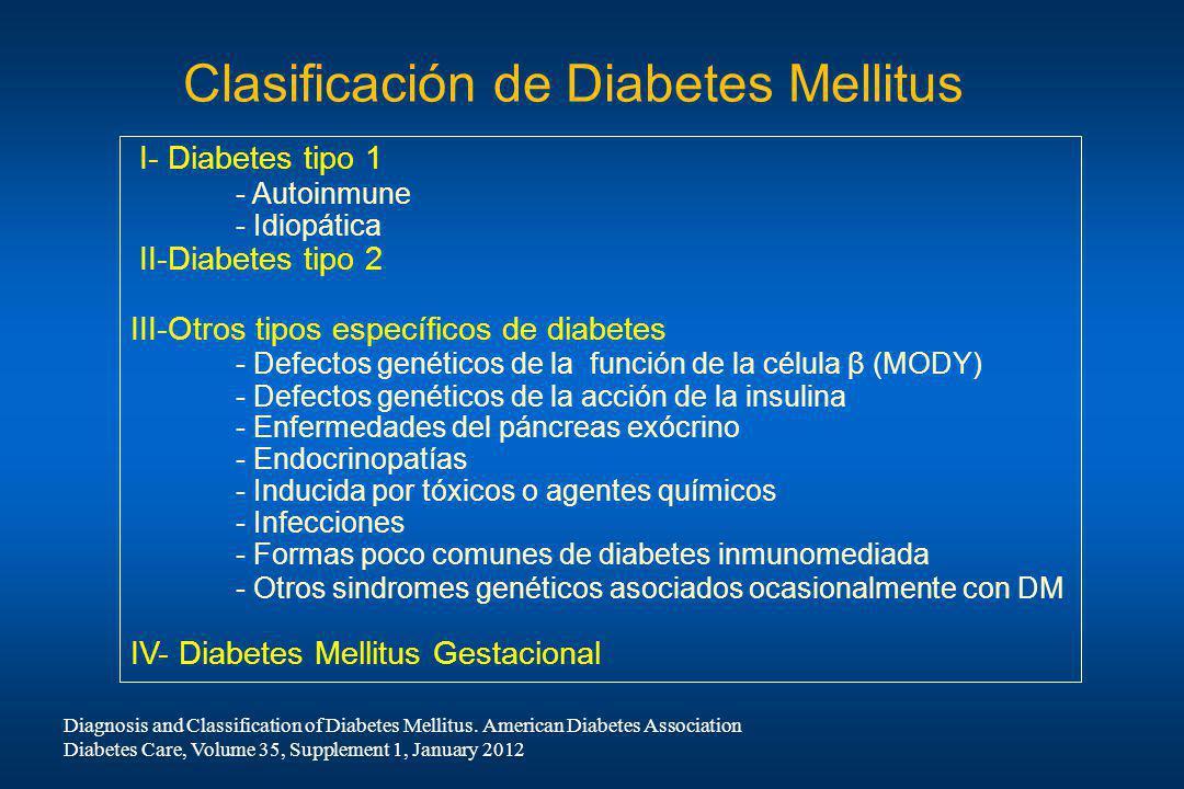 Clasificación de Diabetes Mellitus I- Diabetes tipo 1 - Autoinmune - Idiopática II-Diabetes tipo 2 III-Otros tipos específicos de diabetes - Defectos