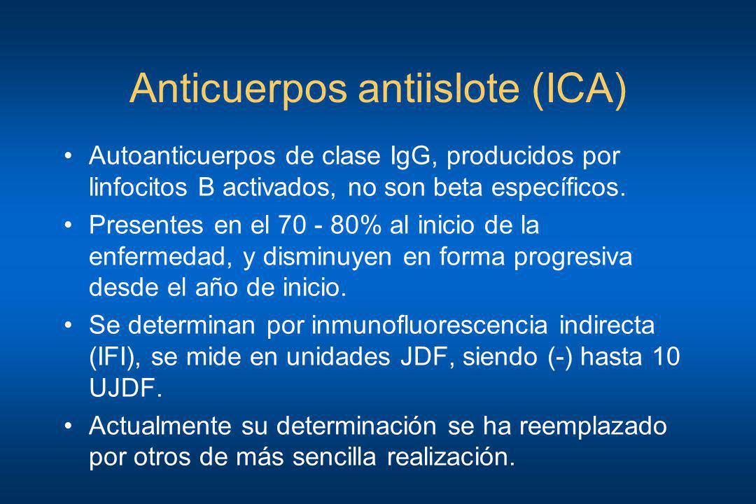 Anticuerpos antiislote (ICA) Autoanticuerpos de clase IgG, producidos por linfocitos B activados, no son beta específicos. Presentes en el 70 - 80% al
