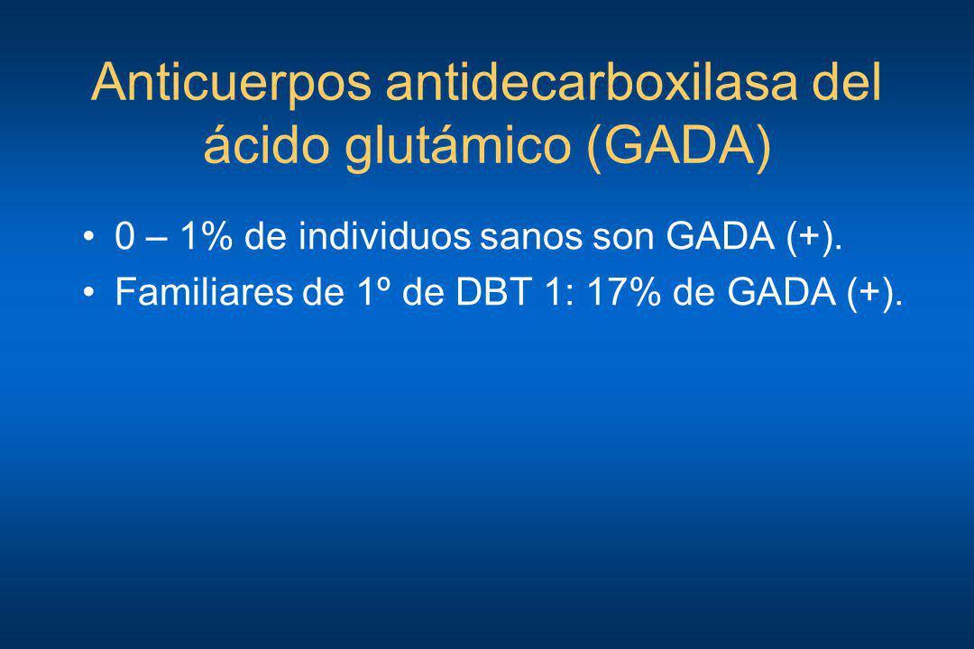 Anticuerpos antidecarboxilasa del ácido glutámico (GADA) 0 – 1% de individuos sanos son GADA (+). Familiares de 1º de DBT 1: 17% de GADA (+).
