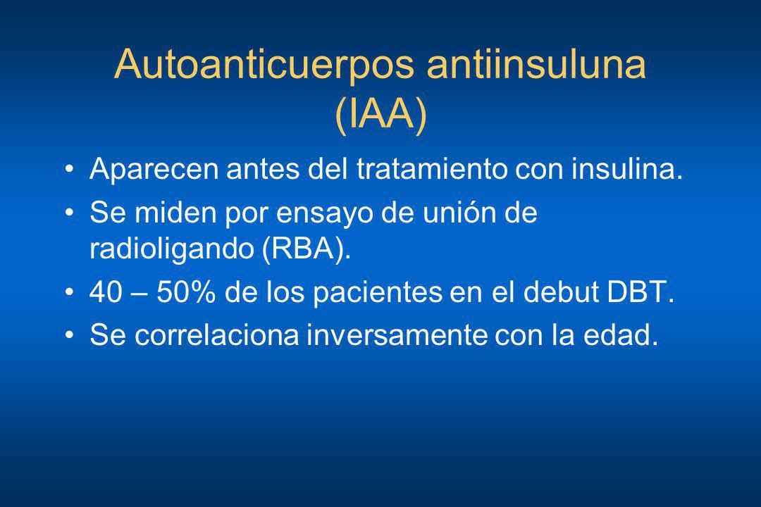 Autoanticuerpos antiinsuluna (IAA) Aparecen antes del tratamiento con insulina. Se miden por ensayo de unión de radioligando (RBA). 40 – 50% de los pa