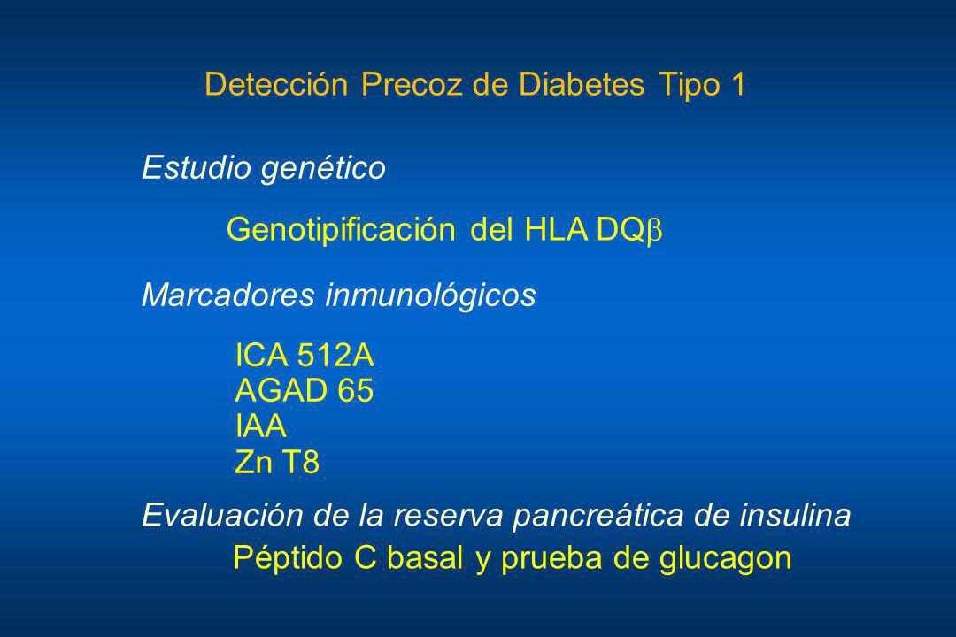 Genotipificación del HLA DQ Estudio genético ICA 512A AGAD 65 IAA Zn T8 Marcadores inmunológicos Evaluación de la reserva pancreática de insulina Pépt
