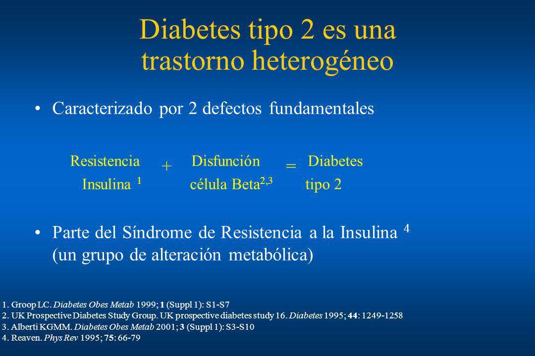 Diabetes tipo 2 es una trastorno heterogéneo Caracterizado por 2 defectos fundamentales Resistencia + Disfunción = Diabetes Insulina 1 célula Beta 2,3