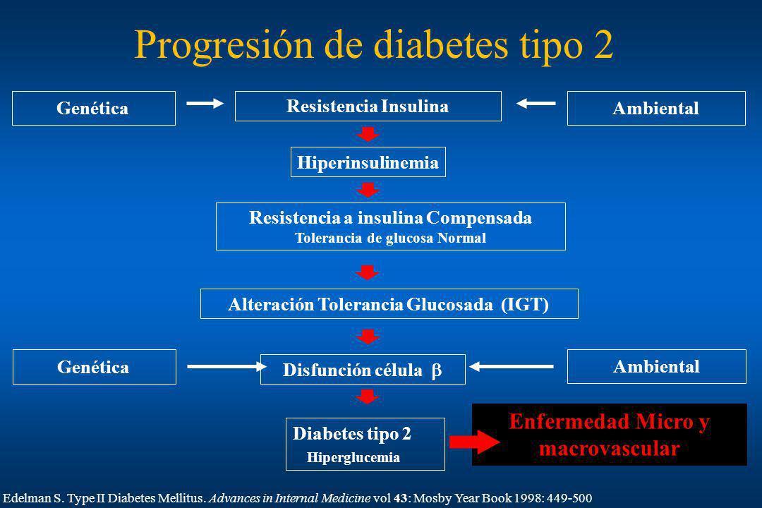 Progresión de diabetes tipo 2 Enfermedad Micro y macrovascular Diabetes tipo 2 Hiperglucemia Hiperinsulinemia Resistencia Insulina Resistencia a insul