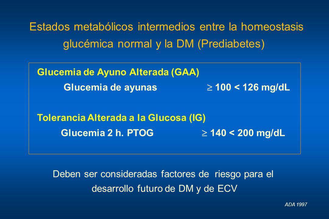 Estados metabólicos intermedios entre la homeostasis glucémica normal y la DM (Prediabetes) Glucemia de Ayuno Alterada (GAA) Glucemia de ayunas 100 <