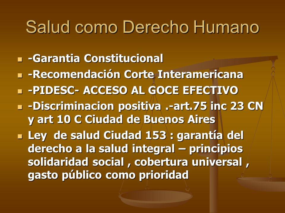 Salud como Derecho Humano -Garantia Constitucional -Garantia Constitucional -Recomendación Corte Interamericana -Recomendación Corte Interamericana -P