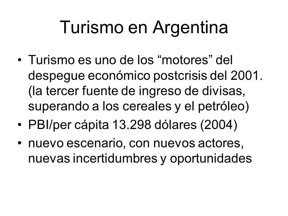 Turismo en Argentina Turismo es uno de los motores del despegue económico postcrisis del 2001. (la tercer fuente de ingreso de divisas, superando a lo