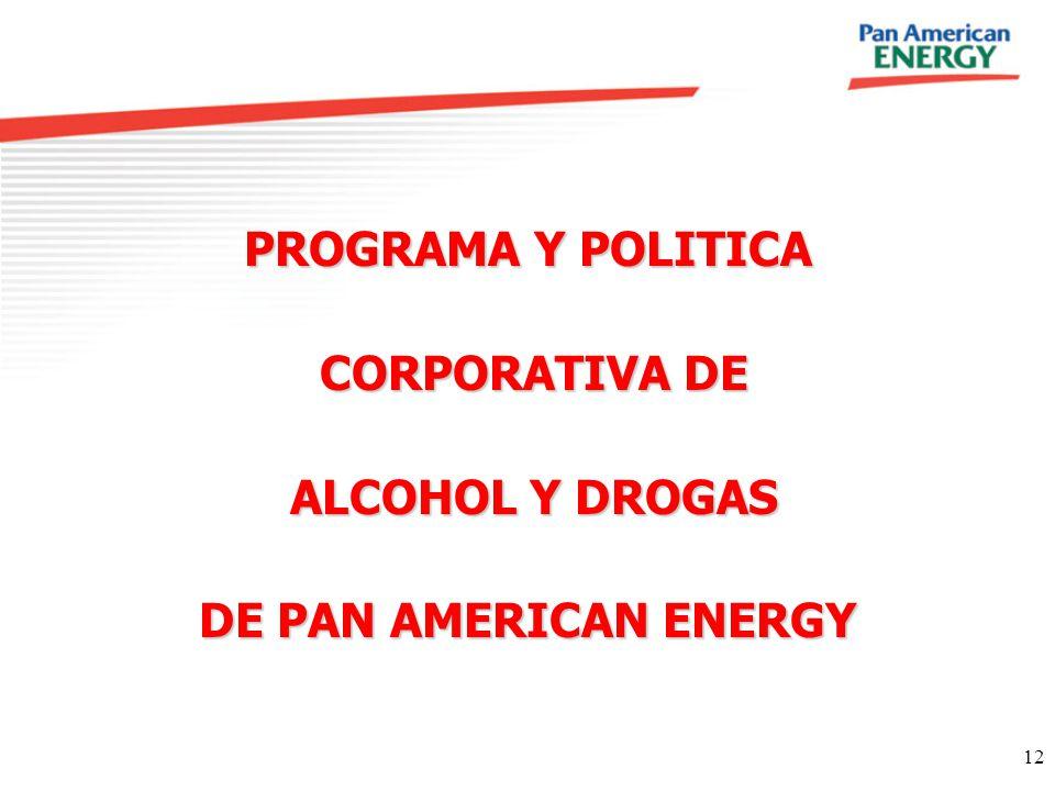 12 PROGRAMA Y POLITICA CORPORATIVA DE CORPORATIVA DE ALCOHOL Y DROGAS ALCOHOL Y DROGAS DE PAN AMERICAN ENERGY