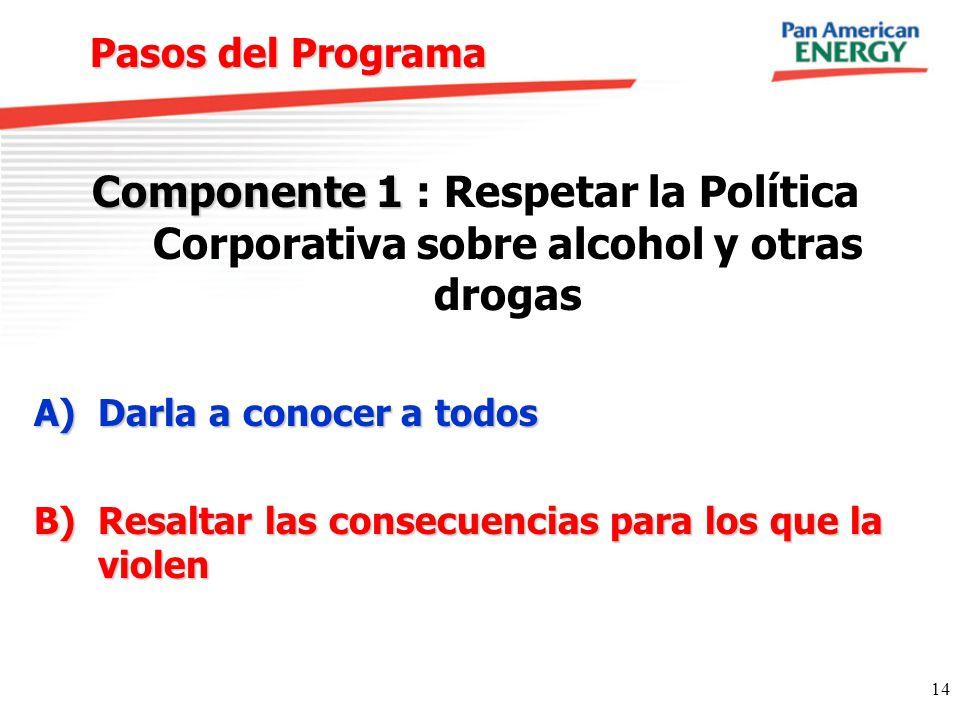 14 Pasos del Programa Componente 1 Componente 1 : Respetar la Política Corporativa sobre alcohol y otras drogas A)Darla a conocer a todos B)Resaltar l
